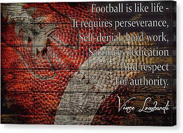 Vince Lombardi Football Quote Barn Door Canvas Print by Dan Sproul