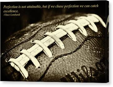 Vince Lombardi Perfection Quote Canvas Print by David Patterson
