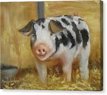 Canvas Print featuring the painting Vindicator The Spotted Pig by Cheri Wollenberg