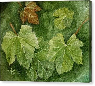 Vine Leaves Canvas Print by Angeles M Pomata
