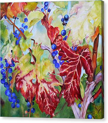 Canvas Print featuring the painting Vines In The Fall by Nadine Dennis