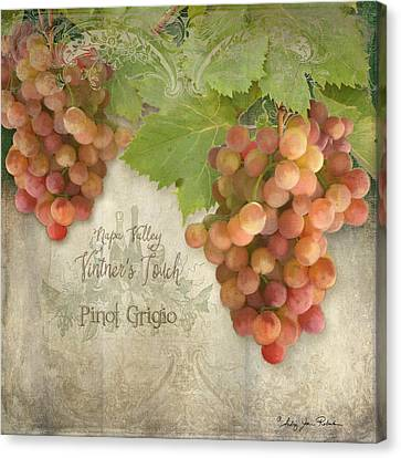 Vine Grapes Canvas Print - Vineyard - Napa Valley Vintner's Touch Pinot Grigio Grapes  by Audrey Jeanne Roberts