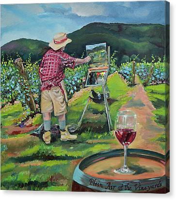 Canvas Print featuring the painting Vineyard Plein Air Painting - We Paint With Wine by Jan Dappen