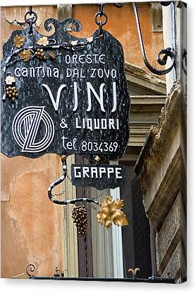 Vino In Venice Canvas Print by Mindy Newman