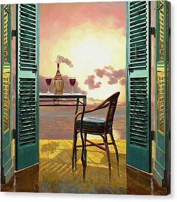 Vino Rosso Al Tramonto Canvas Print by Guido Borelli
