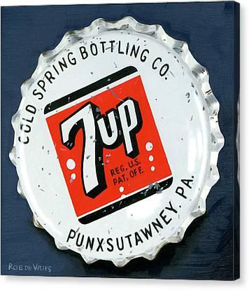 Vintag Bottle Cap, 7up Canvas Print by Rob De Vries