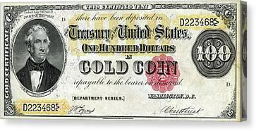 Vintage $100 Bill Circa 1882 Canvas Print by Jon Neidert