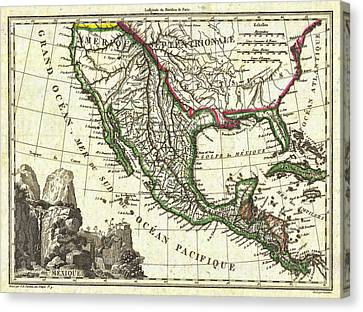 Vintage 1810 Map Of Mexico Texas And California Canvas Print