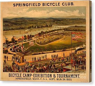 Canvas Print featuring the photograph Vintage 1883 Springfield Bicycle Club Poster by John Stephens