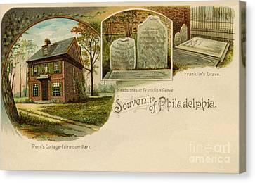 Vintage 1890s Souvenir Of Philadelphia Litho  Canvas Print by Heidi De Leeuw