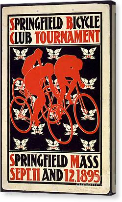 Canvas Print featuring the photograph Vintage 1895 Springfield Bicycle Club Poster by John Stephens