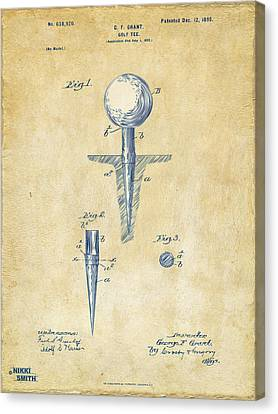Golf Ball Canvas Print - Vintage 1899 Golf Tee Patent Artwork by Nikki Marie Smith