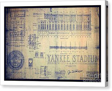 Vintage 1920s Art Deco Yankee Stadium Blueprint Autographed By Joe Dimaggio Canvas Print
