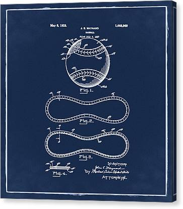 Vintage 1928 Baseball Patent Blue Canvas Print by Bill Cannon