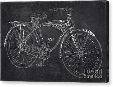 Bicycle Race Canvas Print - Vintage 1939 Schwinn Bicycle Chalkboard by Edward Fielding