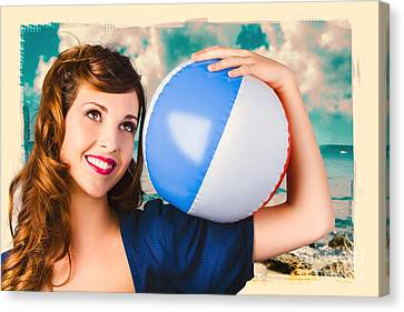 Vintage 1950 Era Pin-up Woman With Beach Ball Canvas Print by Jorgo Photography - Wall Art Gallery