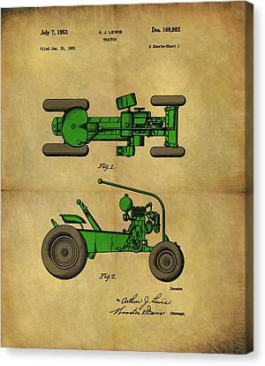 Farm Fields Canvas Print - Vintage 1953 Green Tractor Patent by Dan Sproul