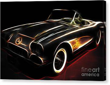 Vintage 1956 Corvette Canvas Print by Wingsdomain Art and Photography