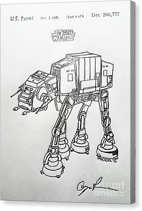 Vintage 1982 Patent At-at Star Wars - Original Canvas Print by Scott D Van Osdol