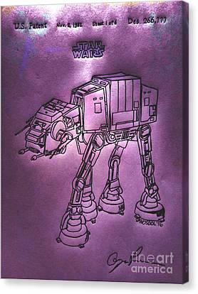 Vintage 1982 Patent At-at Star Wars - Purple Glow Canvas Print by Scott D Van Osdol