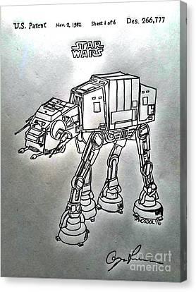 Vintage 1982 Patent At-at Star Wars - Silver Canvas Print by Scott D Van Osdol