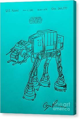 Vintage 1982 Patent Atat Star Wars - Blue Background Canvas Print by Scott D Van Osdol