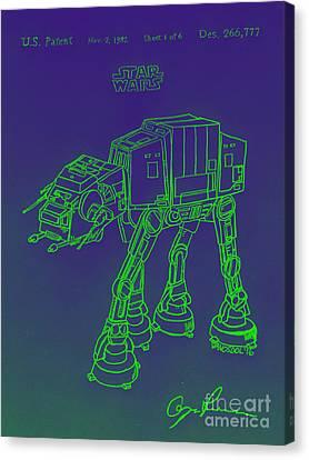 Vintage 1982 Patent Atat Star Wars - Green Glow Canvas Print by Scott D Van Osdol
