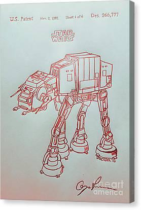 Vintage 1982 Patent Atat Star Wars - Red Silver Canvas Print by Scott D Van Osdol