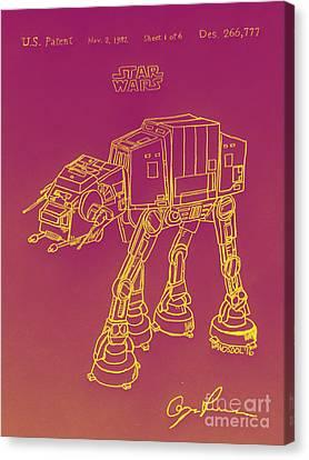 Vintage 1982 Patent Atat Star Wars - Yellow Glow Canvas Print by Scott D Van Osdol