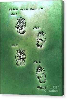Vintage 1982 Star Wars Yoda Patent - Green Abstract Canvas Print by Scott D Van Osdol