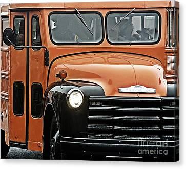 Vintage 54 Chevy School Bus Canvas Print by JW Hanley