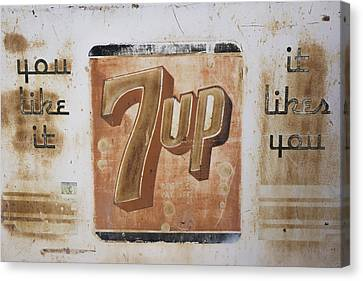Canvas Print featuring the photograph Vintage 7 Up Sign by Christina Lihani