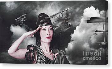 Vintage Air Force Fighter Pilot Saluting Canvas Print
