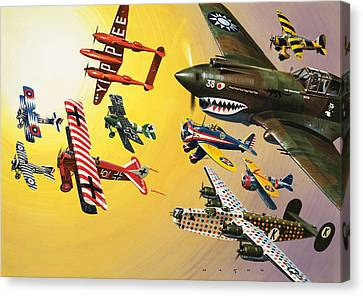Vintage Aircraft Montage Canvas Print by Wilf Hardy