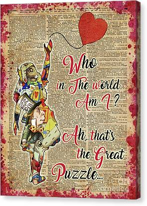 Vintage Alice In Wonderland Collage Who In The World Am I Quote Canvas Print