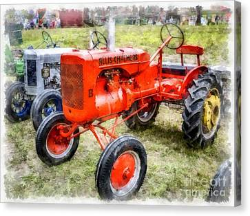 Vintage Allis-chalmers Tractor Watercolor Canvas Print by Edward Fielding