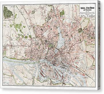 Vintage Antique Hamburg Germany City Map Canvas Print by ELITE IMAGE photography By Chad McDermott