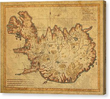 Vintage Antique Map Of Iceland Canvas Print by Design Turnpike