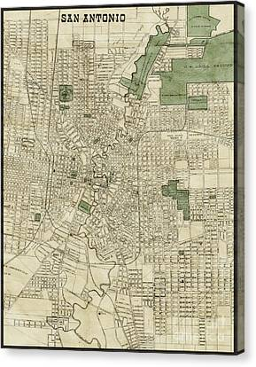 Vintage Antique San Antonio Texas City Map Canvas Print by ELITE IMAGE photography By Chad McDermott