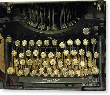 Vintage Antique Typewriter - Text Me - Antique Typewriter Keys Print Black And Gold Canvas Print by Kathy Fornal