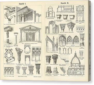 Vintage Architectural Drawings  Baustile I And Baustile II Canvas Print