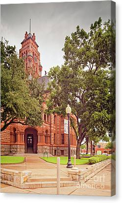Vintage Architectural Image Of The Ellis County Courthouse - Waxahachie North Texas Canvas Print by Silvio Ligutti