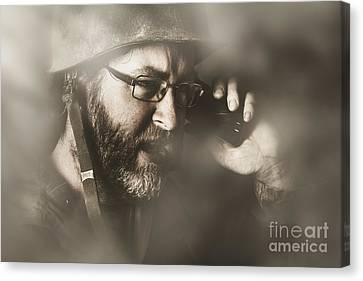 Vintage Army Soldier With Modern Mobile Technology Canvas Print by Jorgo Photography - Wall Art Gallery