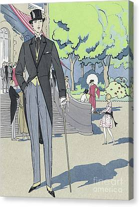 Cravat Canvas Print - Vintage Art Deco Fashion Print Depicting A Man In Morning Dress by French School