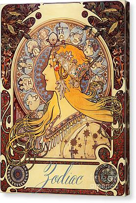Vintage Art Nouveau Zodiac Canvas Print by Mindy Sommers