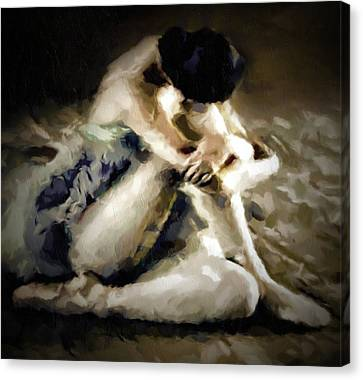 Ballet Canvas Print - Vintage Ballerina Abstract Realism Grunge by Georgiana Romanovna