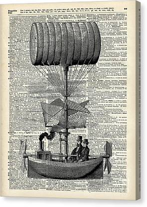 Vintage Ballon Airship  Over A Old Dictionary Page Canvas Print