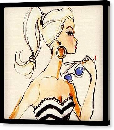 Vintage Barbie Sketch #awesome #barbie Canvas Print by Myrtali Petrocheilou