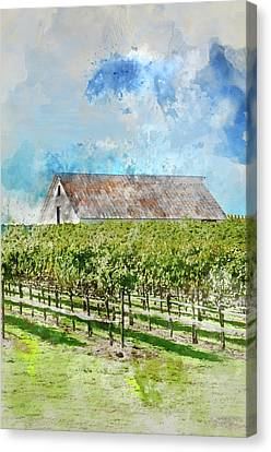 Vintage Barn In Vineyard Applying Retro Instagram Film Style Canvas Print by Brandon Bourdages