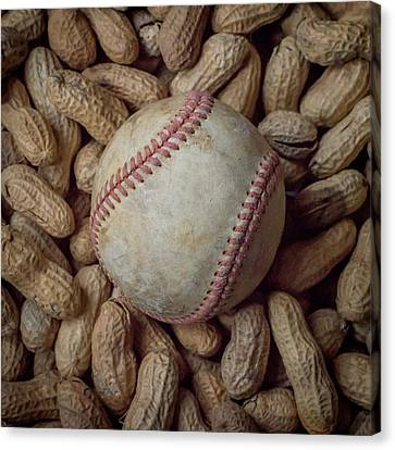 Vintage Baseball And Peanuts Square Canvas Print by Terry DeLuco